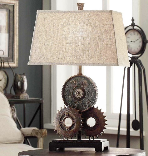COG INDUSTRIAL STYLE TABLE LAMP - Industrial COG Table Lamp Rustic Gears Mechanical Spare Parts