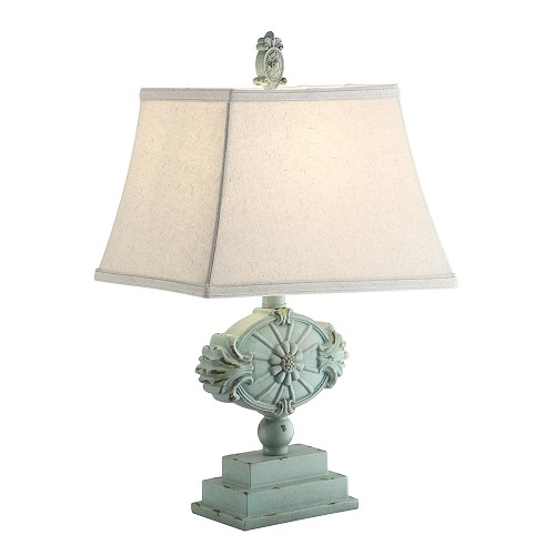 French Country Blue Fleur De Lis Table Lamp Shabby Cottage