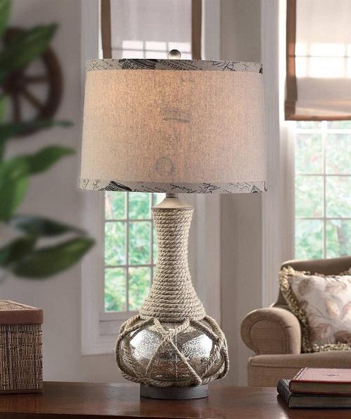 Sea Lamps: Nautical Coastal Rope & Mercury Glass Table Lamp Freeport