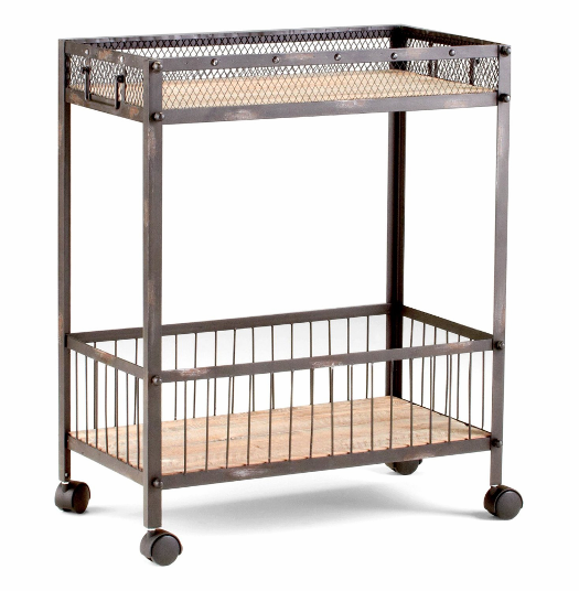 Wood And Metal Industrial Kitchen Cart: Industrial Serving Bar Cart Desmond Rolling Iron Natural