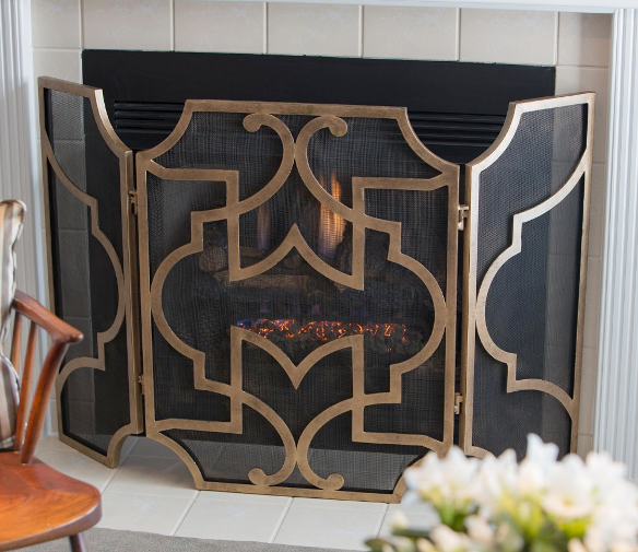 Elegant French Tuscan Fireplace Fire Screen Antique Gold