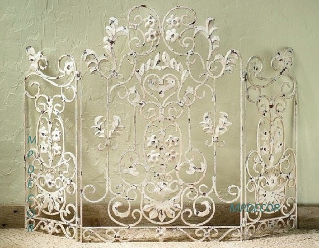 French Country Scroll Floral Antique White Cottage Shabby
