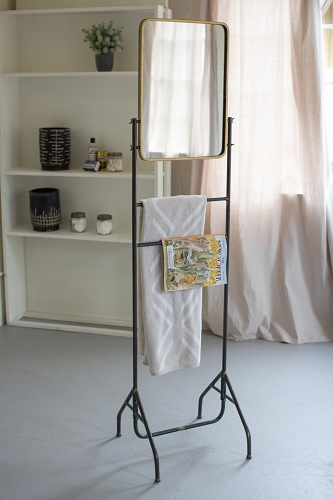 Antique Mid Century Modern Style Metal Valet Stand Towel