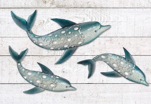 Dolphin Fish Wall Art Metal Coastal Nautical Beach Indoor