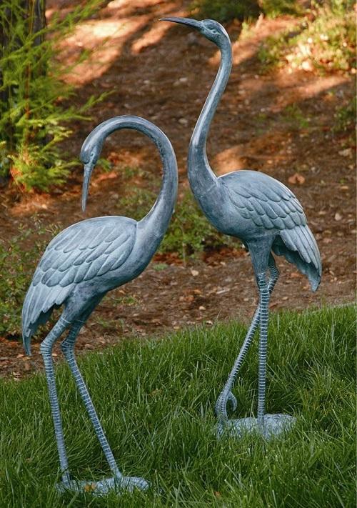 Brass Medium Crane Pair Garden Statue Coastal Heron Bird Sculpture Spi Home Ebay