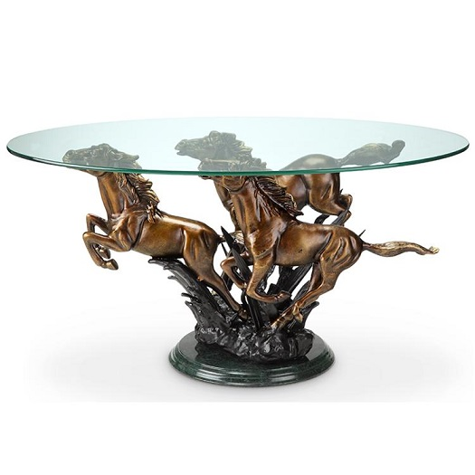 Galloping Horse Trio Coffee Table Stallion Western Equestrian Horses Marble Base Ebay