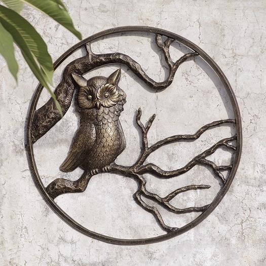 Owl garden wall art hanging decor metal hoot owl bird for Garden wall art