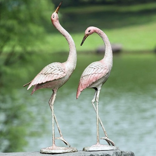Spitting Pond Cranes: Graceful Cast Iron Crane Flamboyant Pair Garden Pool Patio