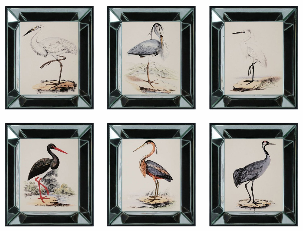 Coastal Wall Decor: Six Heron Mirror Framed Wall Art Decor Coastal Nautical