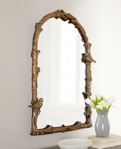 Bird On Branch Arched Wall Mirror Antique Gold Bath Vanity