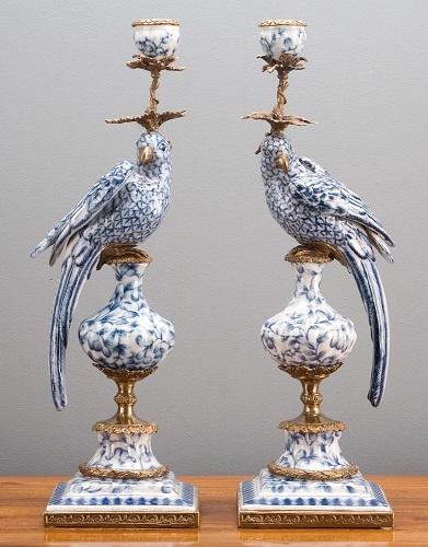 Oriental Bronze Ormolu Blue White Parrot Birds Porcelain