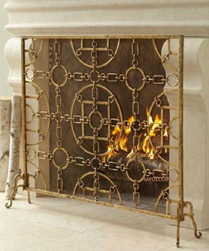 Italian Gold Iron Equestrian Design Fireplace Screen
