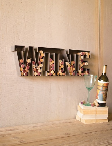 Wine Letter Cork Holder Wall Art Decor Metal Sign Bar Gift