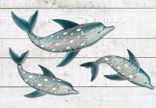 SWIMMING DOLPHIN SEASIDE WALL ART DECOR