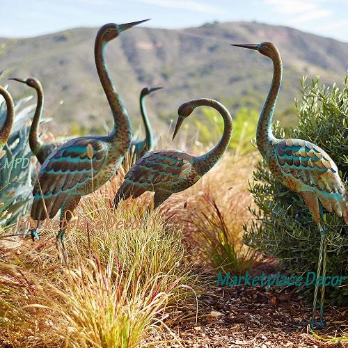 Spitting Pond Cranes: Garden Crane Pair Statues Heron Bird Sculpture Metal