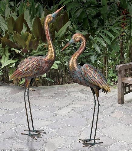 Copper Patina Crane Pair Metal Garden Statues Bird Sculpture Heron Rainbow Color 657641115183 Ebay