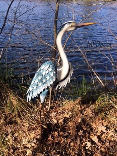 Stsatuette For Outdoor Ponds: Blue Heron Garden Statue Metal Coastal Bird Outdoor Crane