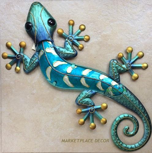 Large 23 Quot Blue Gecko Lizard Wall Art Decor Glass Metal