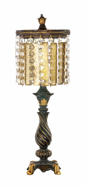 Elegant Crystal Amp Amber Accent Table Lamp Crystal Shade