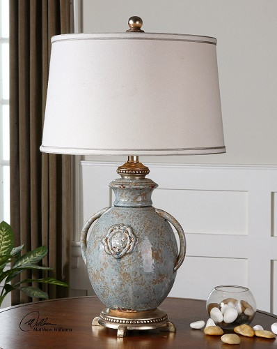 Cancello Table Lamp French Country Tuscan Ceramic Blue Glaze Uttermost 26483 Ebay