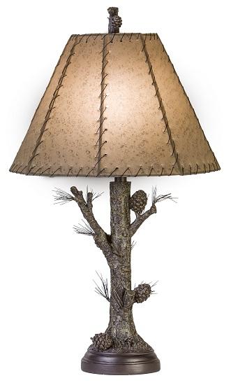 Pinecone Rustic Table Lamp Rawhide Shade Pine Tree Bark