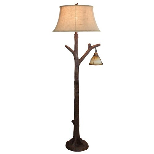 Tree Branch Floor Lamp Rustic Cabin Lodge Decor Glass Lantern ...